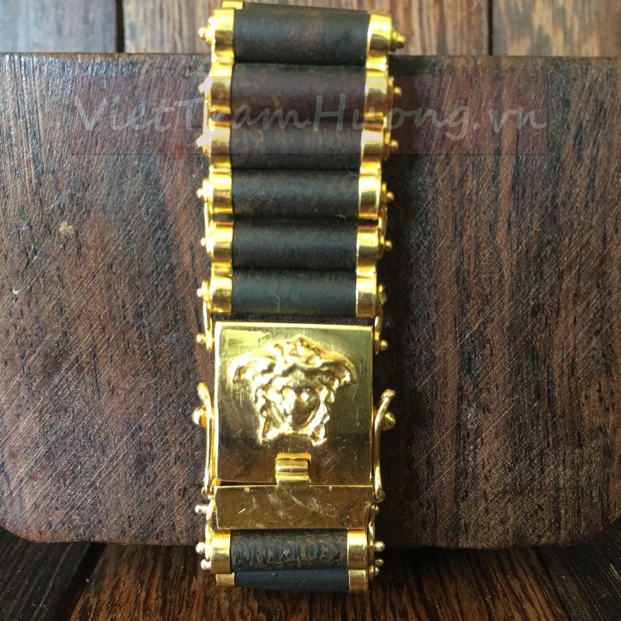 Vòng đeo tay trầm hương bọc vàng BV-68