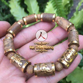 Vòng tay trầm hương bọc vàng chữ Phúc Lộc Thọ F32